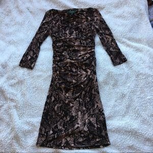 Ralph Lauren Snake Skin Rouched Midi Dress